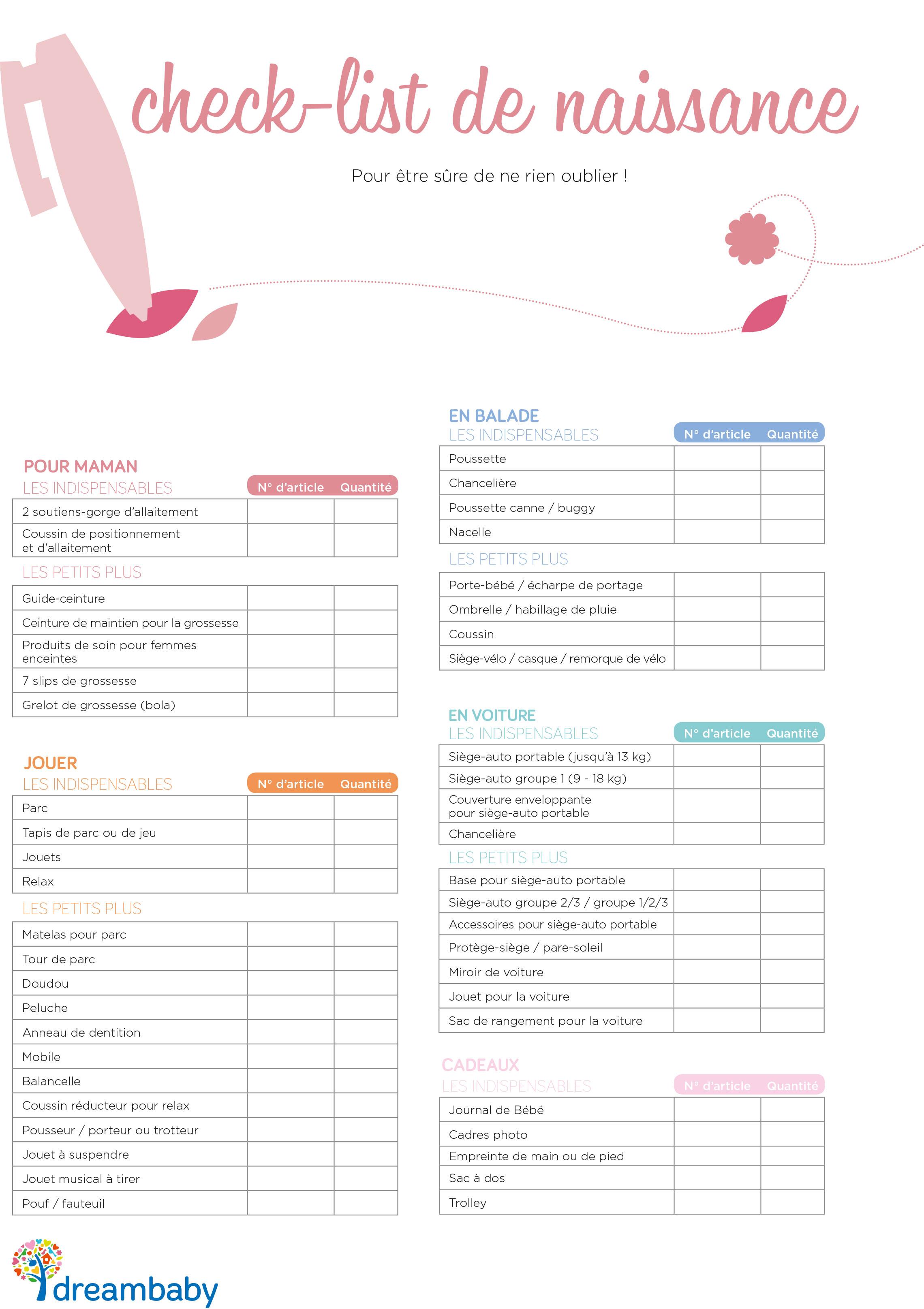 liste de naissance que faut il